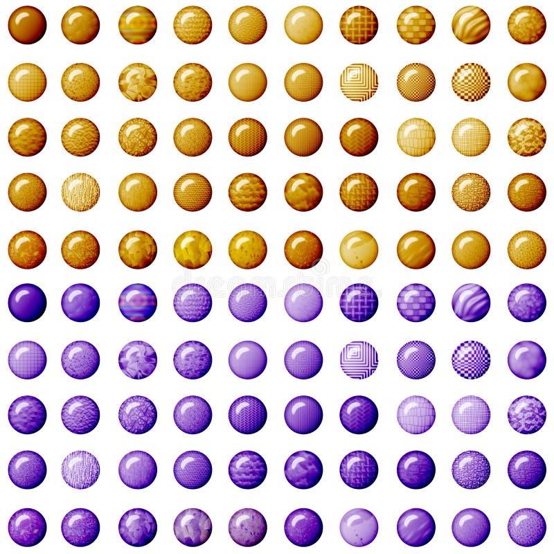 Brown y botones púrpuras imagenes de archivo