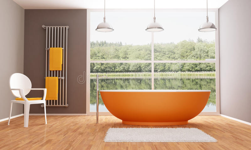 Brown y cuarto de baño moderno anaranjado stock de ilustración