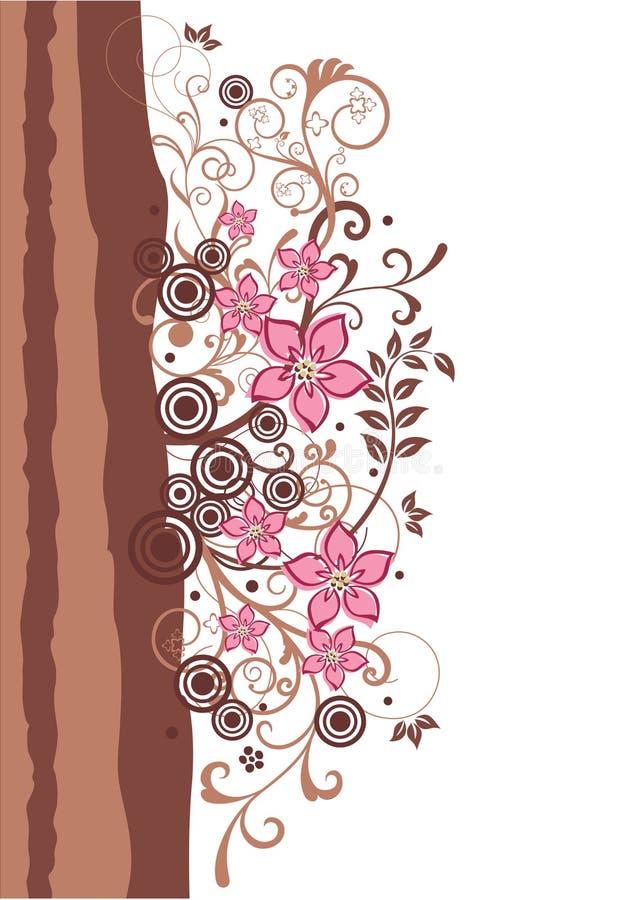 Brown y frontera floral del color de rosa libre illustration
