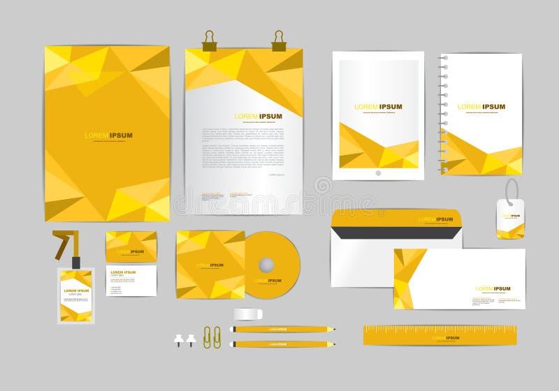 Brown y oro con la plantilla de la identidad corporativa del triángulo stock de ilustración
