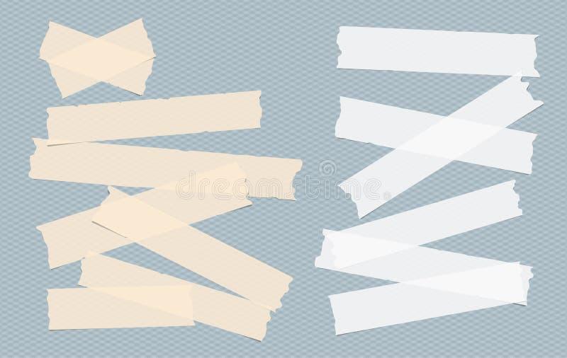 Brown y pegamento blanco, pegajoso, enmascarando, cinta aislante, tiras de papel, pedazos para el texto en fondo ajustado azul stock de ilustración