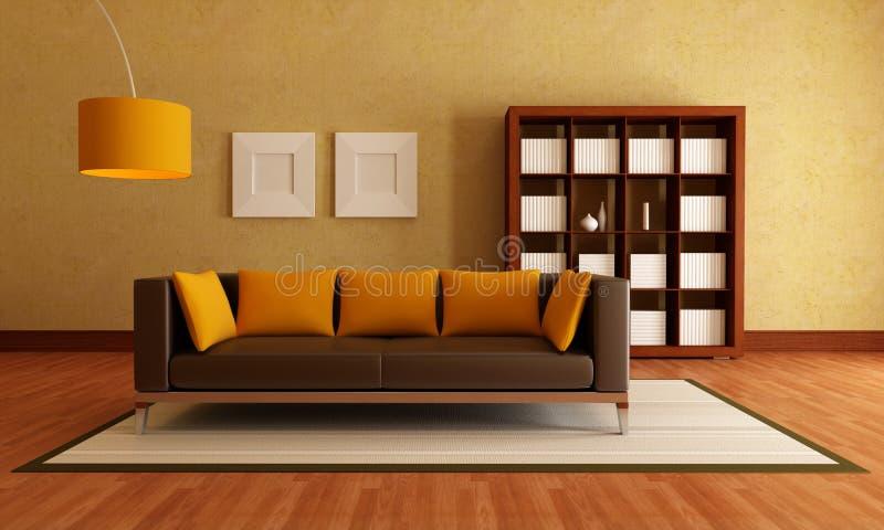 Brown y sala de estar anaranjada stock de ilustración