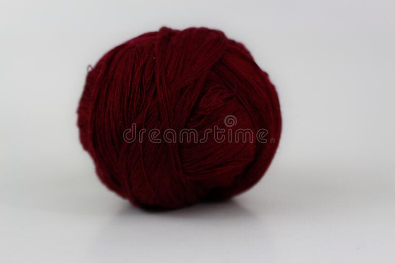 Brown yarn isolated on white background stock photo