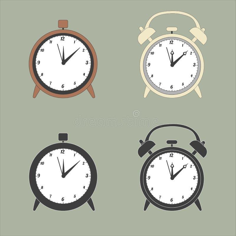 Brown and yellow vintage alarm clocks. Icons of alarm clocks. stock illustration