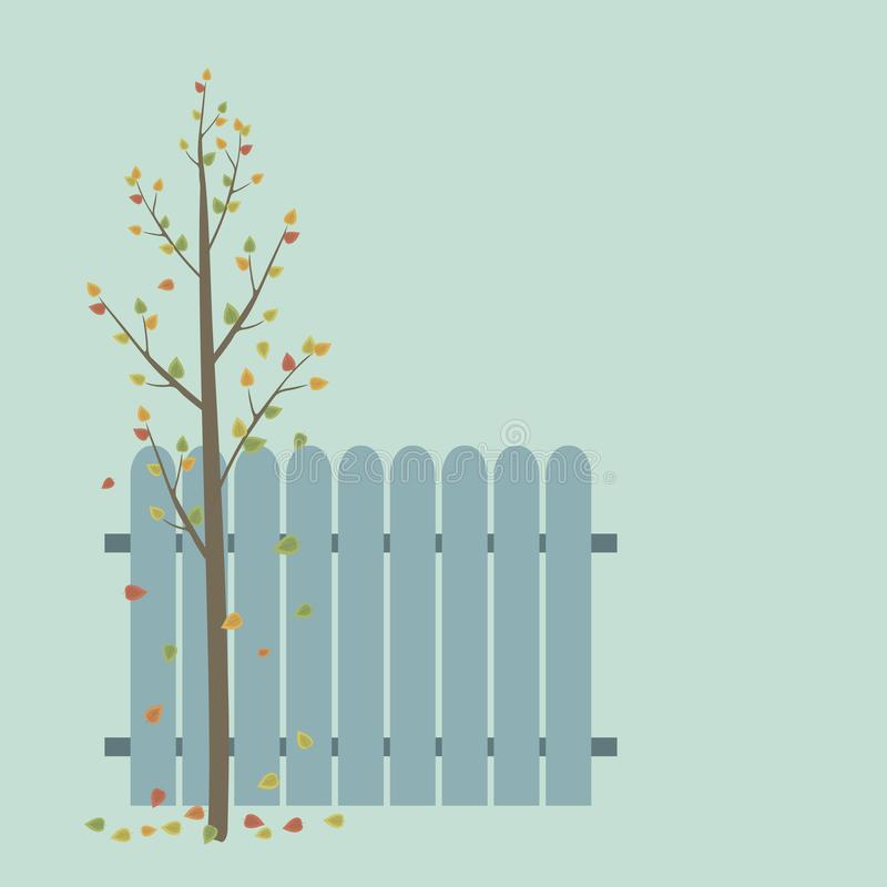 Brown autumn young tree with branches and yellow falling leaves with blue fence on a light blue background vector illustration stock illustration