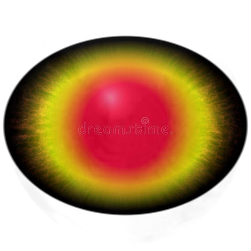 Brown złocisty oko z otwartym uczniem i jaskrawą żółtą siatkówką w tle ilustracji