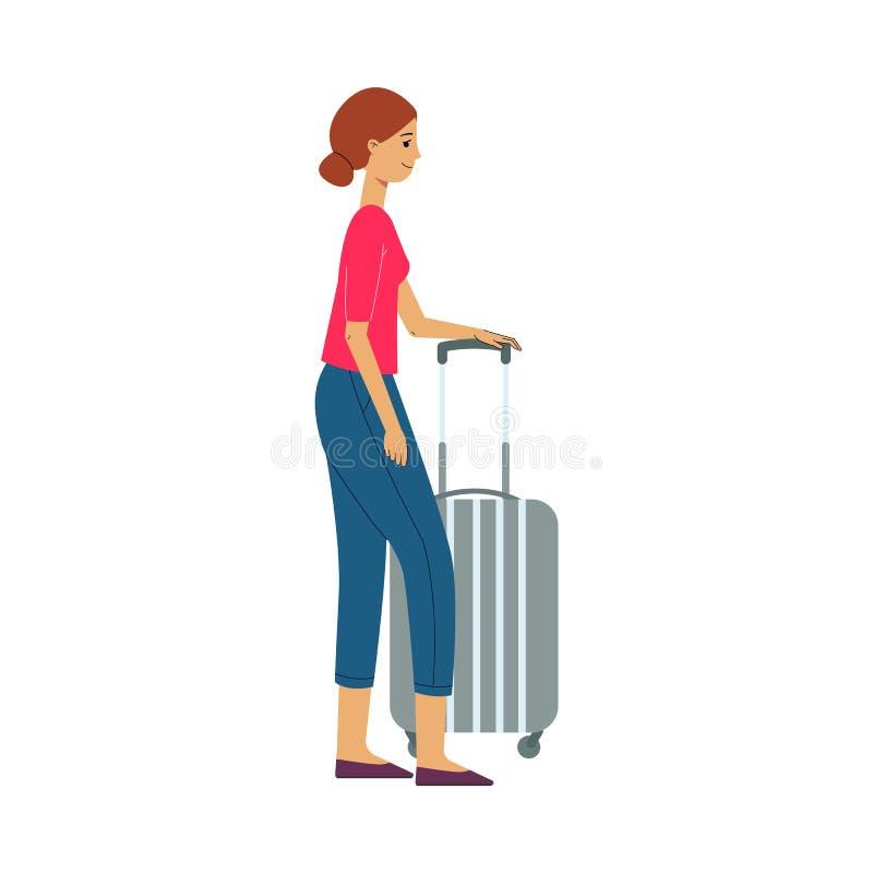 Brown z włosami turystyczna kobieta z walizką na kołach i bagażu iść na podróży podróżować ilustracji