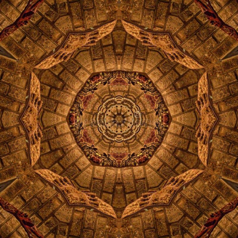 Brown-Zusammenfassungs-Mandala Kaleidoscope-Beschaffenheit stockbild