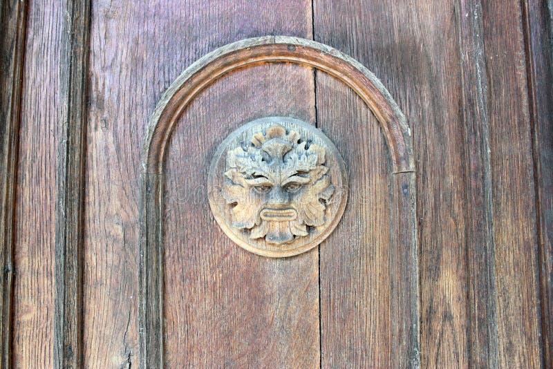 browne 在大门的木设计元素,19世纪末 神话生物 半人半兽状的神 库存照片