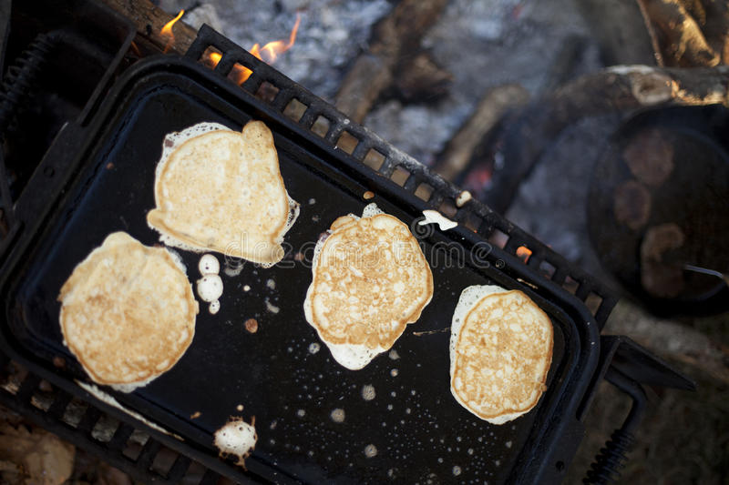 Browned Campfire Pancakes royalty free stock photography