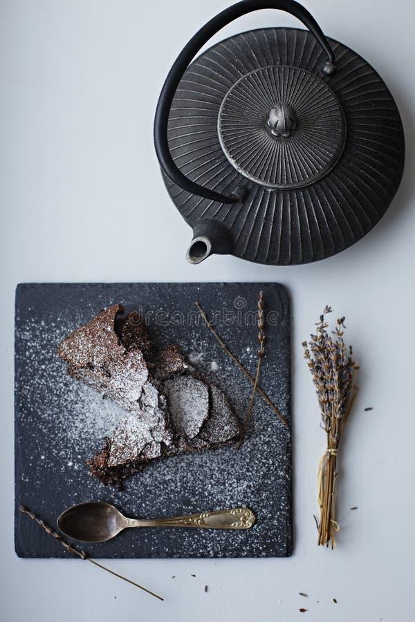 Brownie κέικ μαγειρική στοκ φωτογραφίες