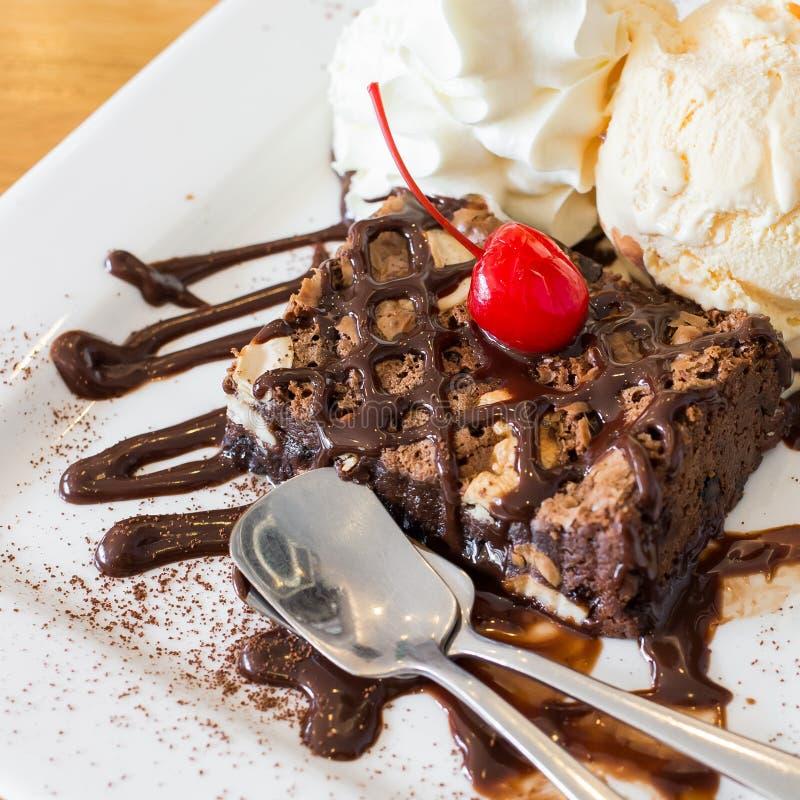 Brownie σοκολάτας παγωτό στοκ φωτογραφία