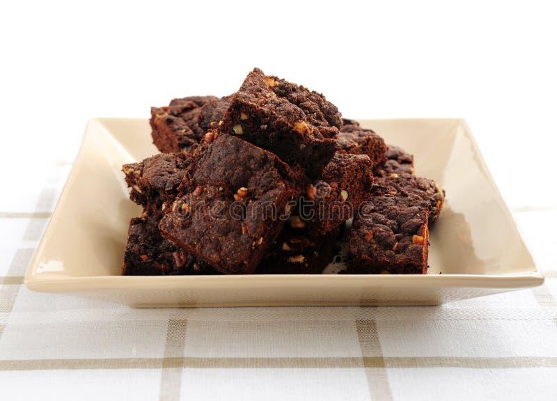 Brownie casalinghi del cioccolato fotografia stock libera da diritti