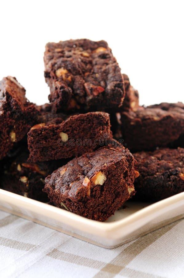 Brownie casalinghi del cioccolato fotografie stock libere da diritti