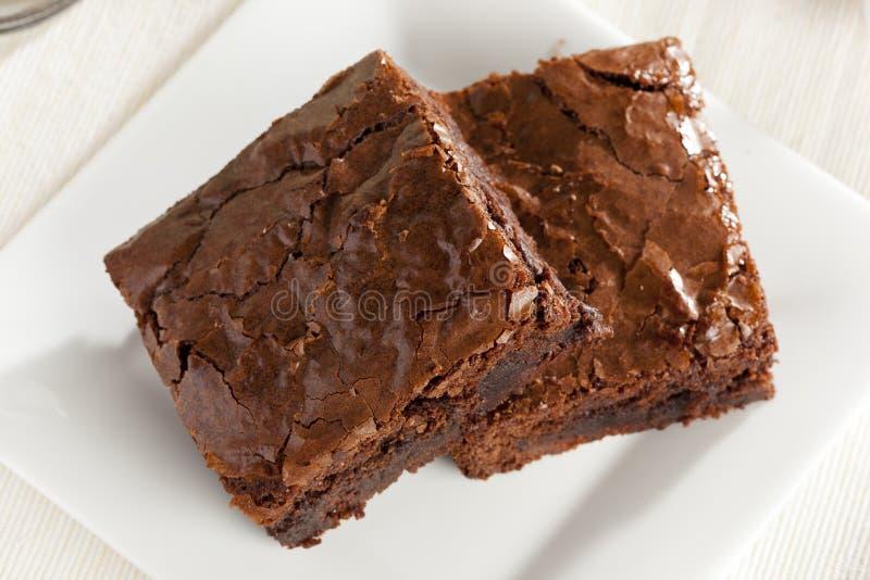 Brownie casalingo fresco del cioccolato immagine stock libera da diritti