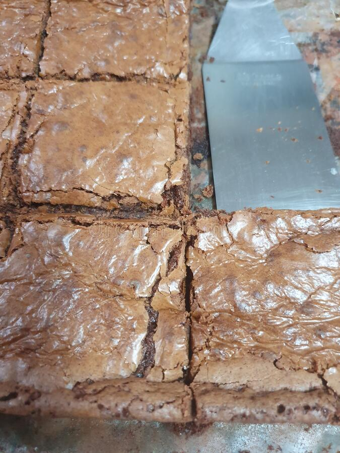 Brownie Chocolate Pizza fotografia stock