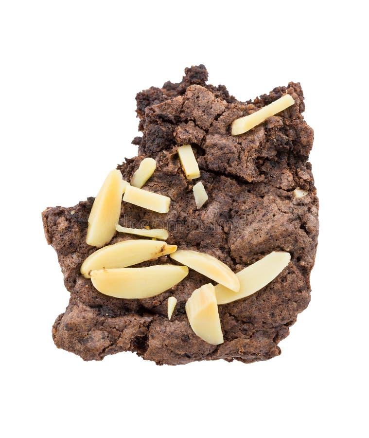 Brownie con un morso isolato su fondo bianco immagine stock