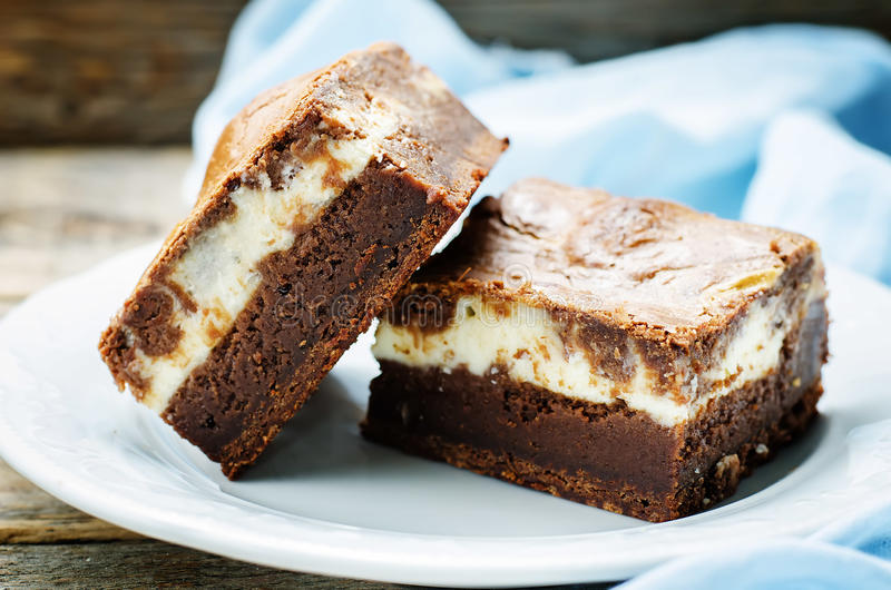Brownie with cream cheese stock photos