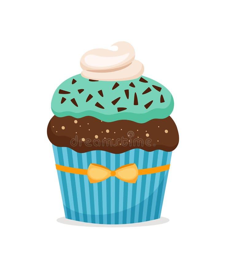 Brownie cupcake με το μπλε πάγωμα διανυσματική απεικόνιση