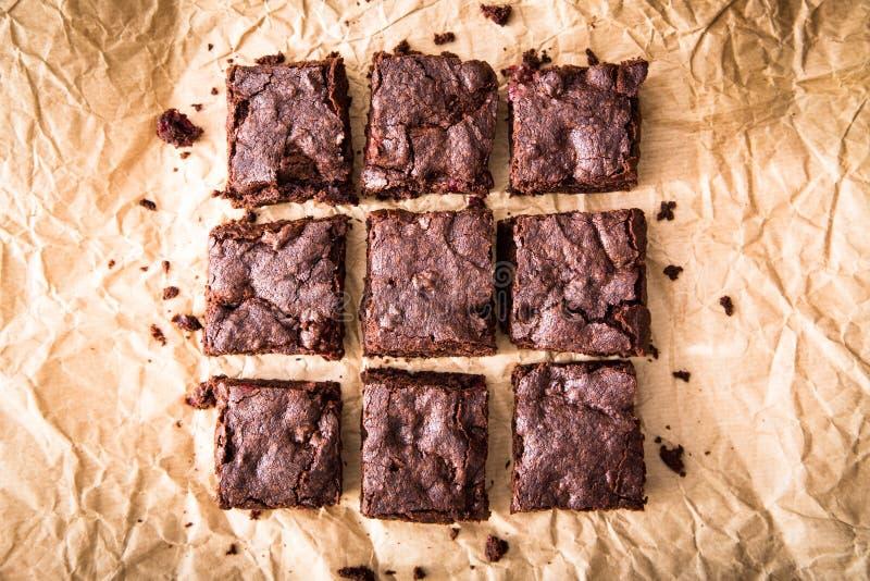 'brownie' délicieux faits maison de chocolat Gâteau de chocolat de plan rapproché image stock