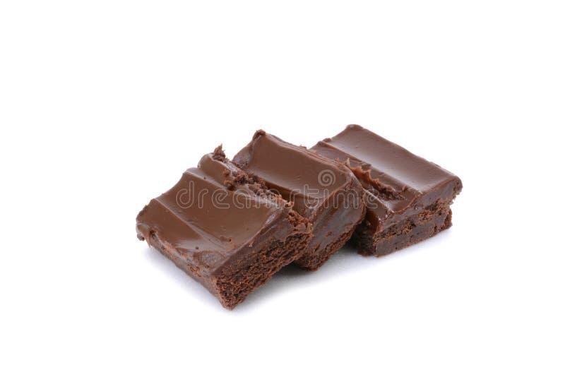 Brownie del chocolate de Omemade con la formación de hielo foto de archivo libre de regalías