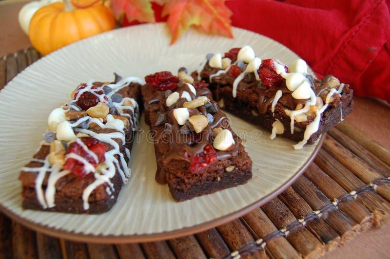 Brownie del cioccolato con i dadi, mirtilli rossi, cioccolata bianca fotografia stock libera da diritti