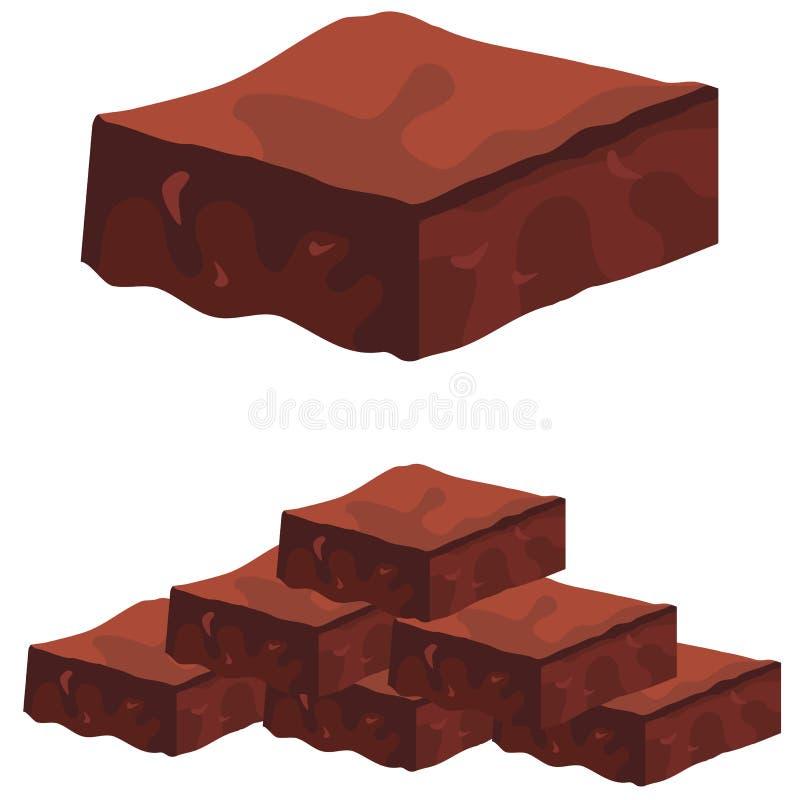 Brownie del fondente di cioccolato illustrazione di stock