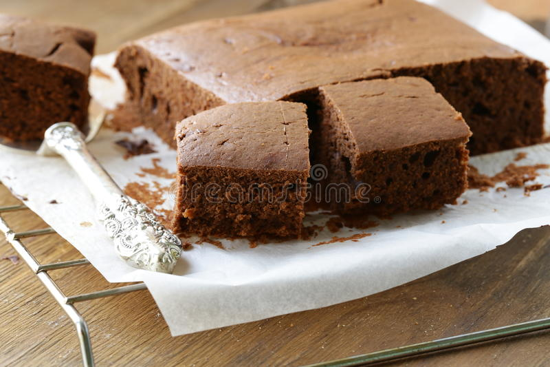 brownie do bolo de chocolate fotografia de stock royalty free
