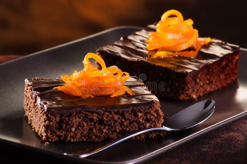 Brownie do chocolate imagem de stock