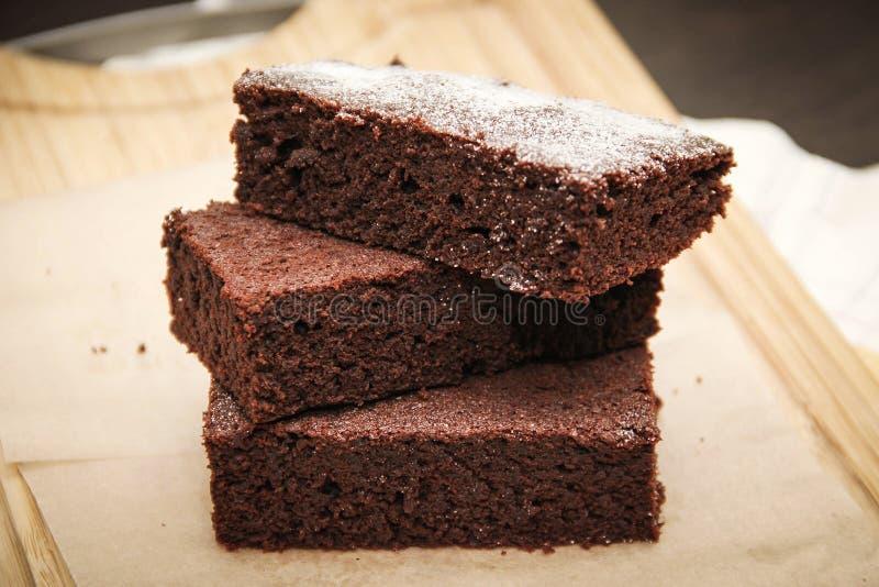 Brownie do chocolate fotos de stock
