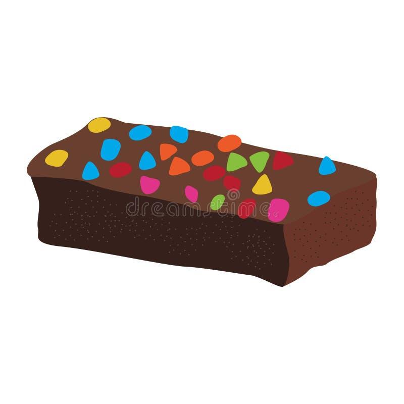 Brownie do chocolate com microplaquetas ilustração do vetor