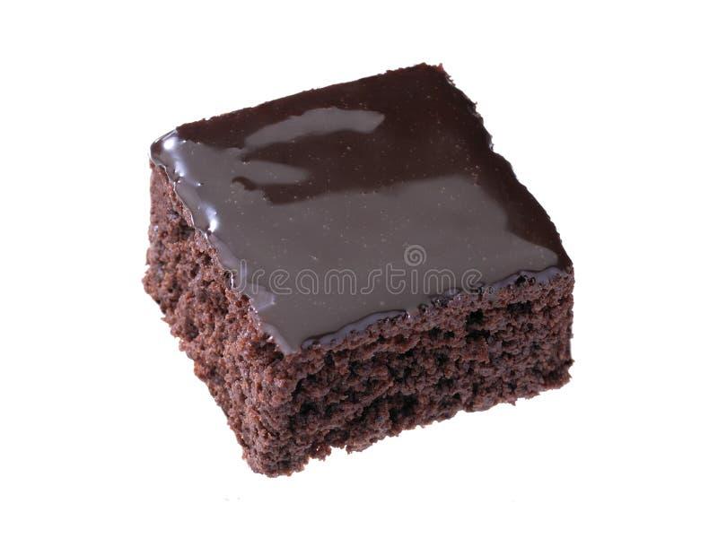Brownie do chocolate isolada no fundo branco imagens de stock royalty free