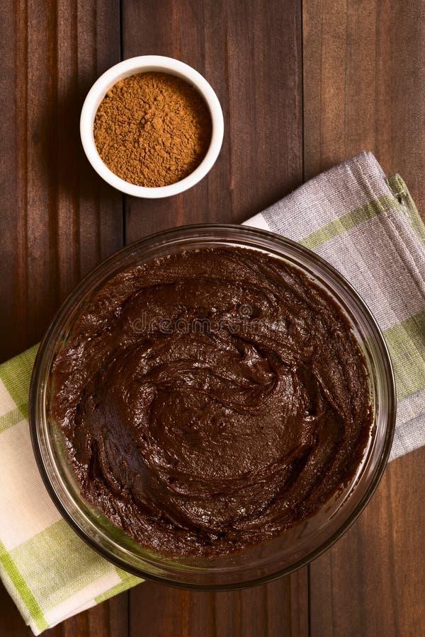 Brownie, dolce di cioccolato o pasta di base del biscotto immagini stock libere da diritti