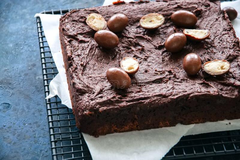 A brownie escura do chocolate esquadra em uma cremalheira de fio decorada com o cre fotos de stock royalty free