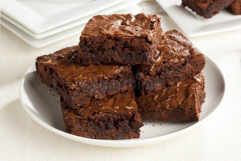 'brownie' fait maison frais de chocolat images libres de droits