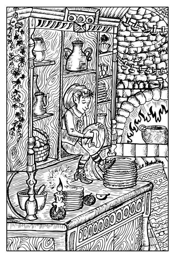 Brownie, gnomo o alcohol de la casa Ejemplo grabado de la fantasía ilustración del vector
