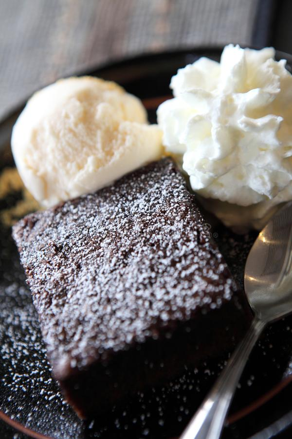 Brownie with icecream. In close up stock photo