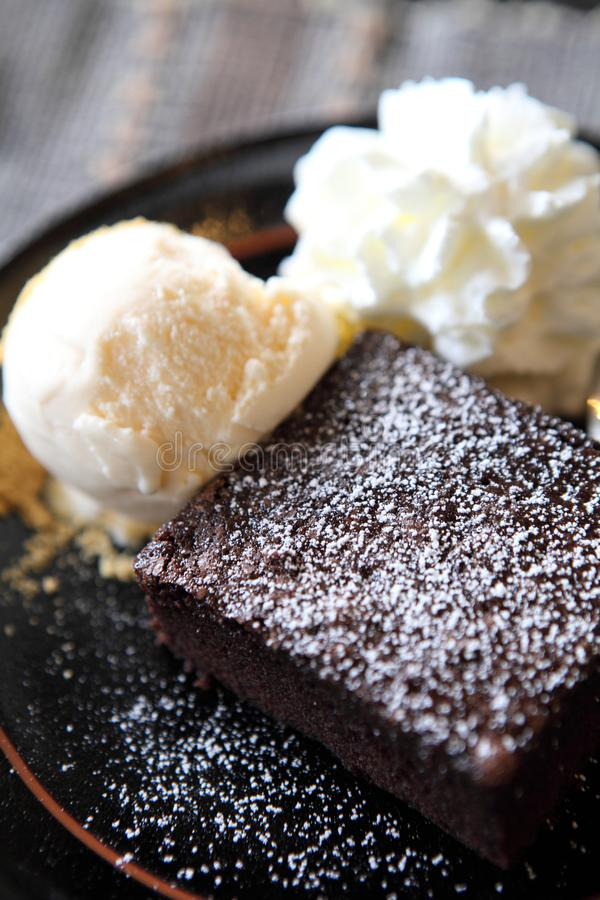 Brownie with icecream. In close up stock images