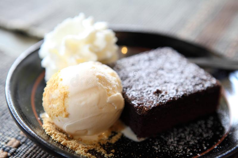 Brownie with icecream. In close up royalty free stock image
