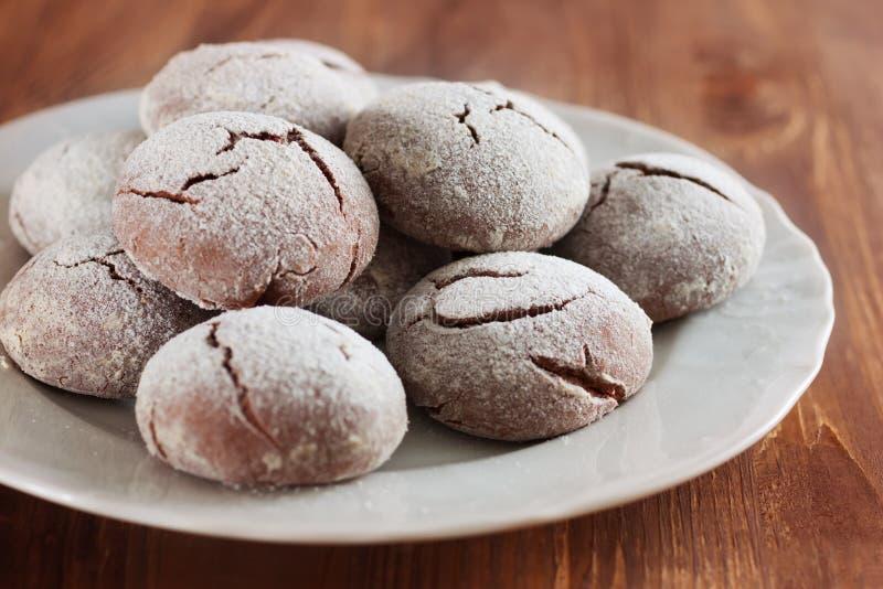 Brownie krinkle koekjes Het dessert van de chocolade stock foto