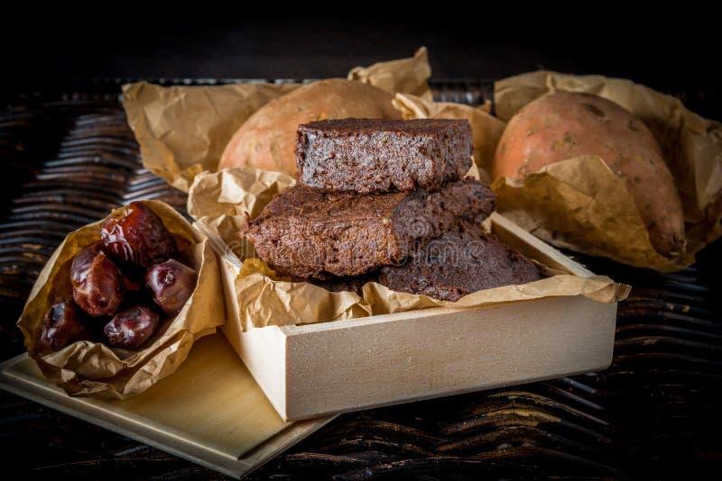 Brownie libres del estilo de Paleo del gluten fotografía de archivo libre de regalías