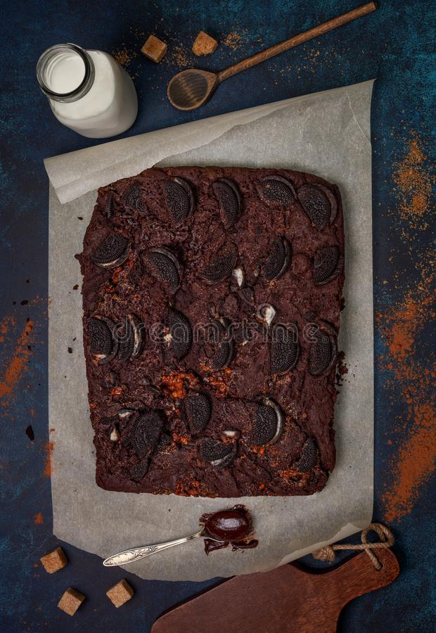 Brownie with oreo cookies stock photo