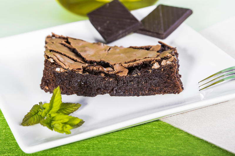 Brownie slice stock image