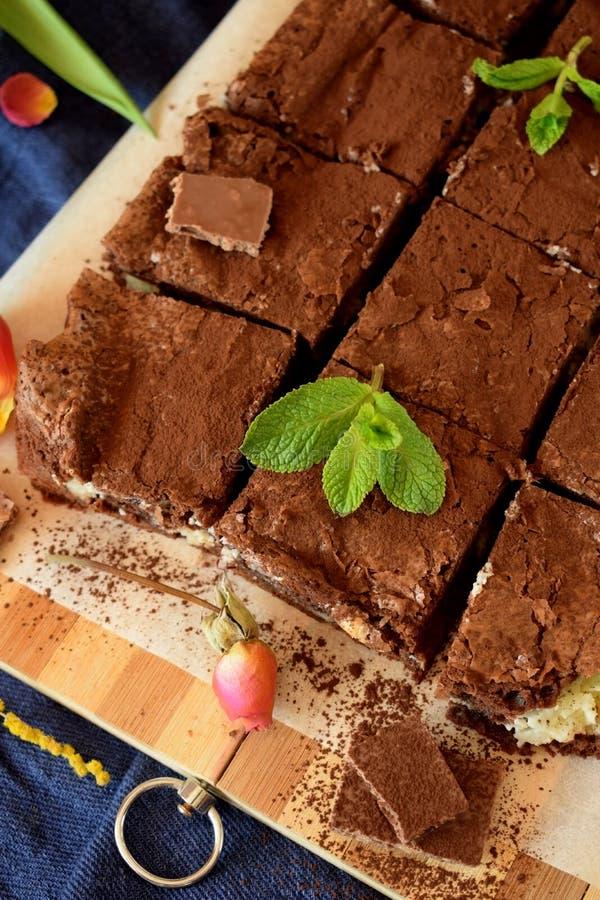 Brownie square pieces stock photos