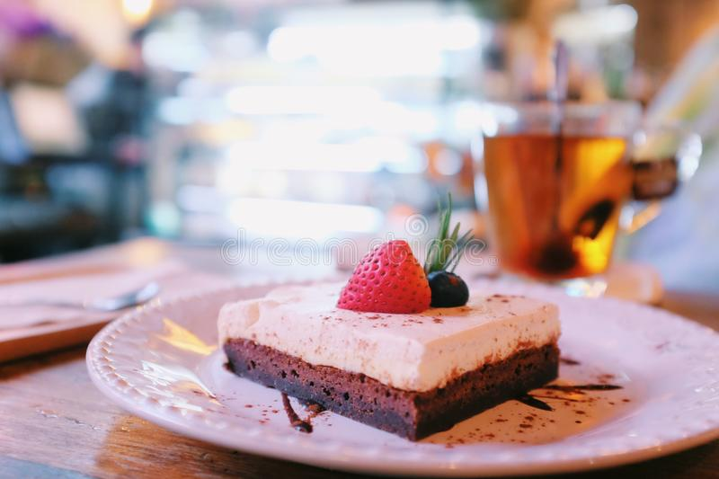 Brownie strawberry cheese cake royalty free stock photography