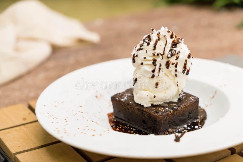 Brownie Sundae with a Scoop of Vanilla Ice Cream royalty free stock photos