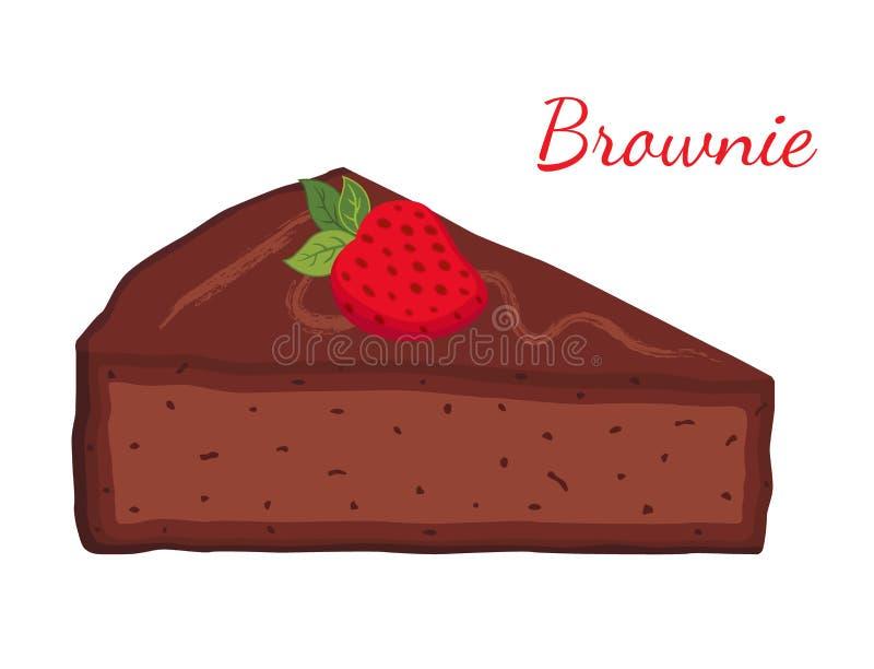Brownie, torta do chocolate, queque, pastelaria Estilo liso dos desenhos animados Vetor ilustração do vetor