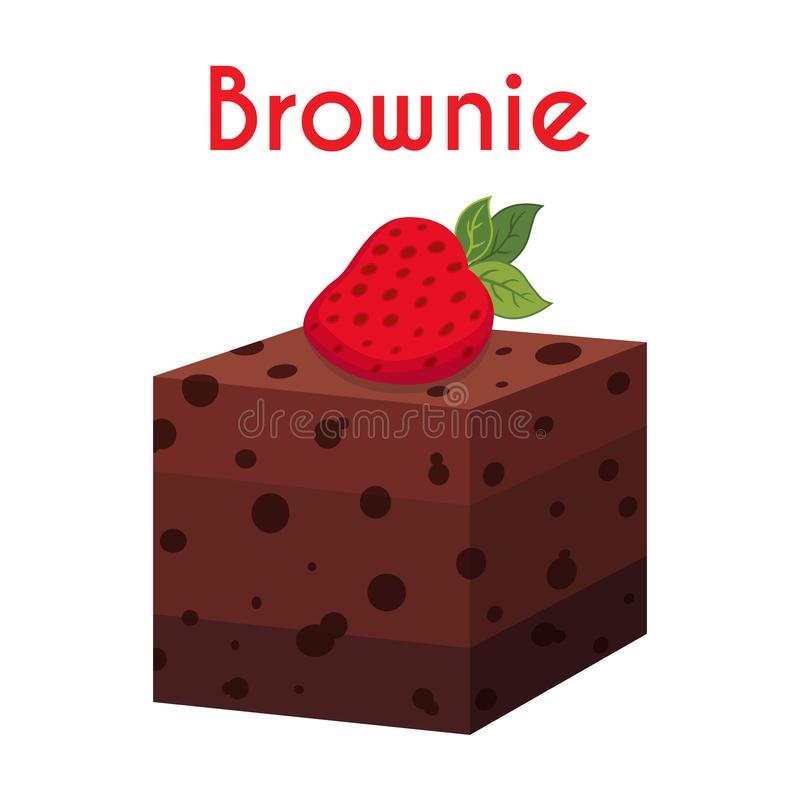 Brownie, torta do chocolate, queque, pastelaria Estilo liso dos desenhos animados Vetor ilustração royalty free