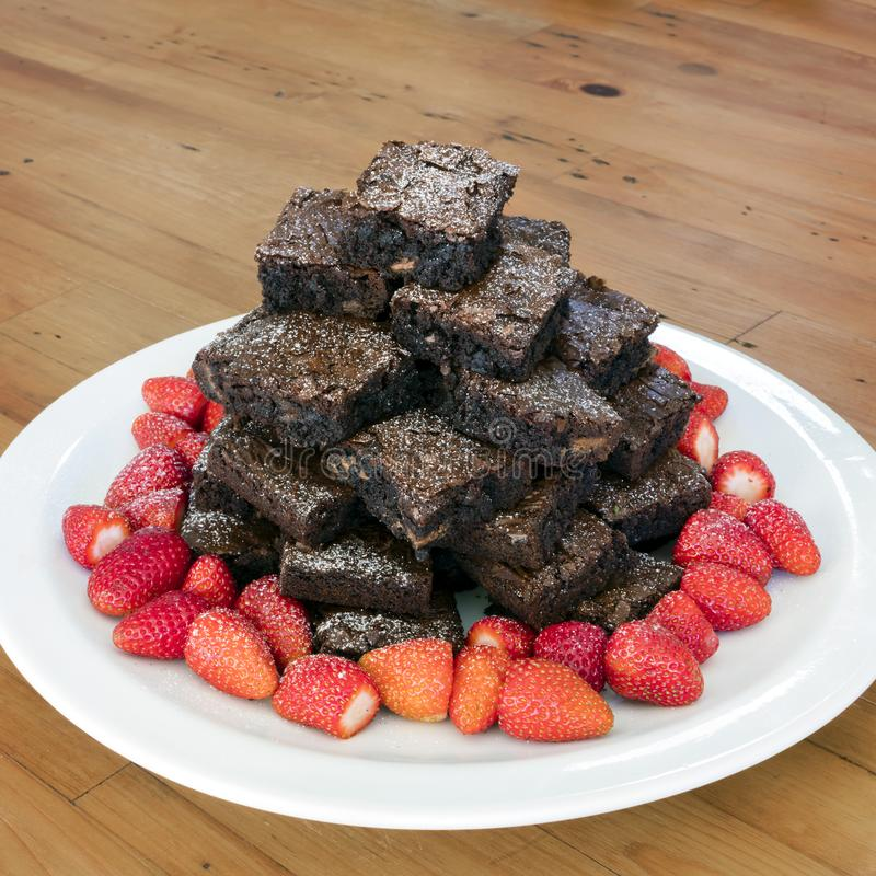 Download Brownie Tower Stack With Strawberries Stock Image - Image of brownie, healthy: 115489989