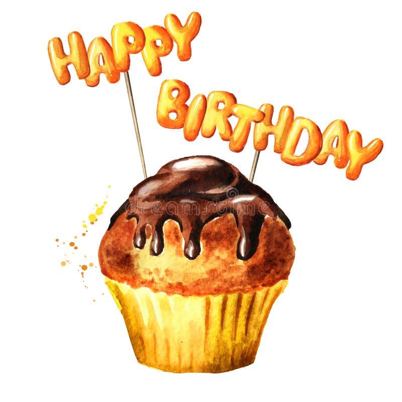 Browniecake die met Gelukkige Verjaardag op stokken van letters voorzien Waterverfhand getrokken die illustratie, op witte achter royalty-vrije stock foto's